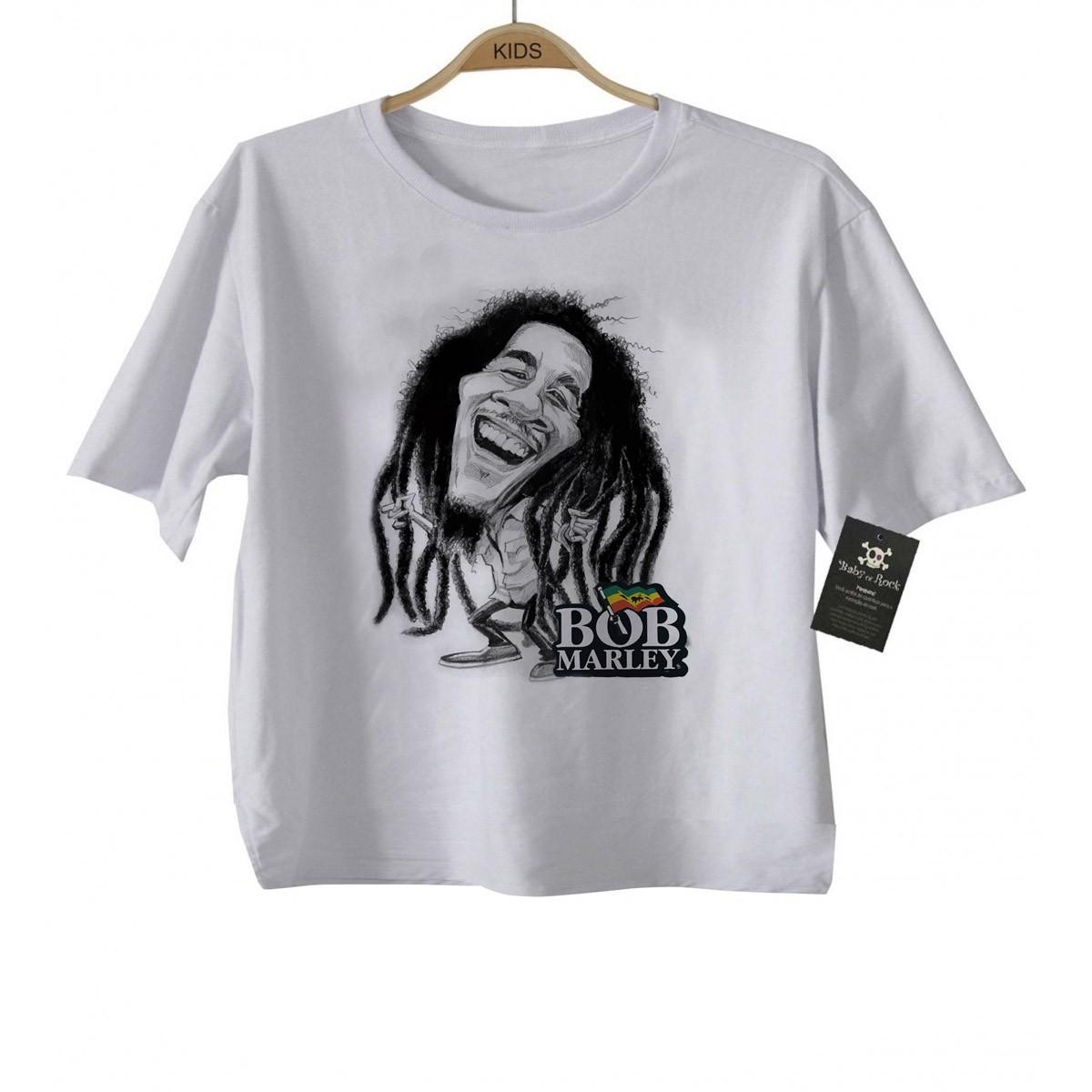 Camiseta Kids  Bob Marley - White  - Baby Monster - Body Bebe