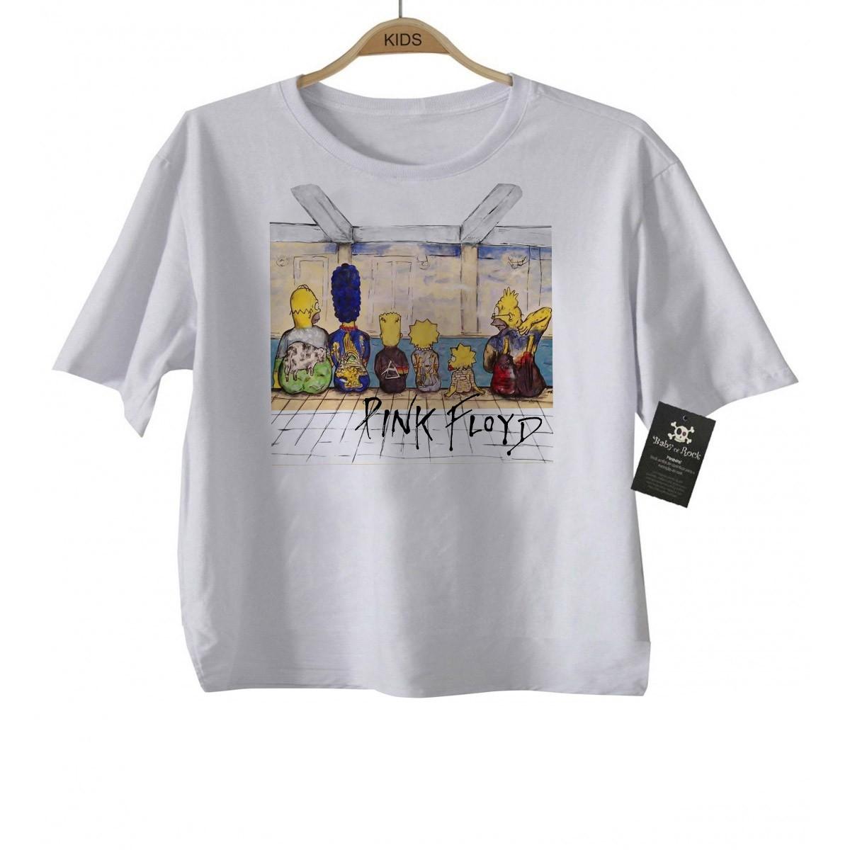 Camiseta KIDS de Rock Infantil -  Pink Floyd Simpsons - White  - Baby Monster S/A