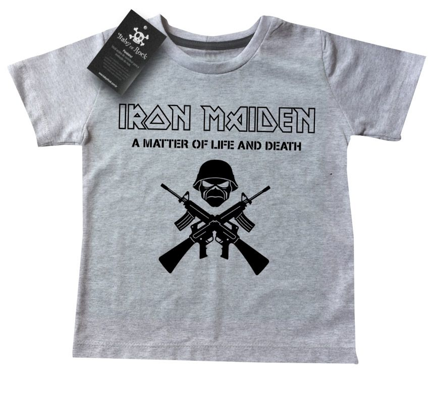 Camiseta Kids Infantil de Rock Iron Life and Death - White  - Baby Monster - Body Bebe