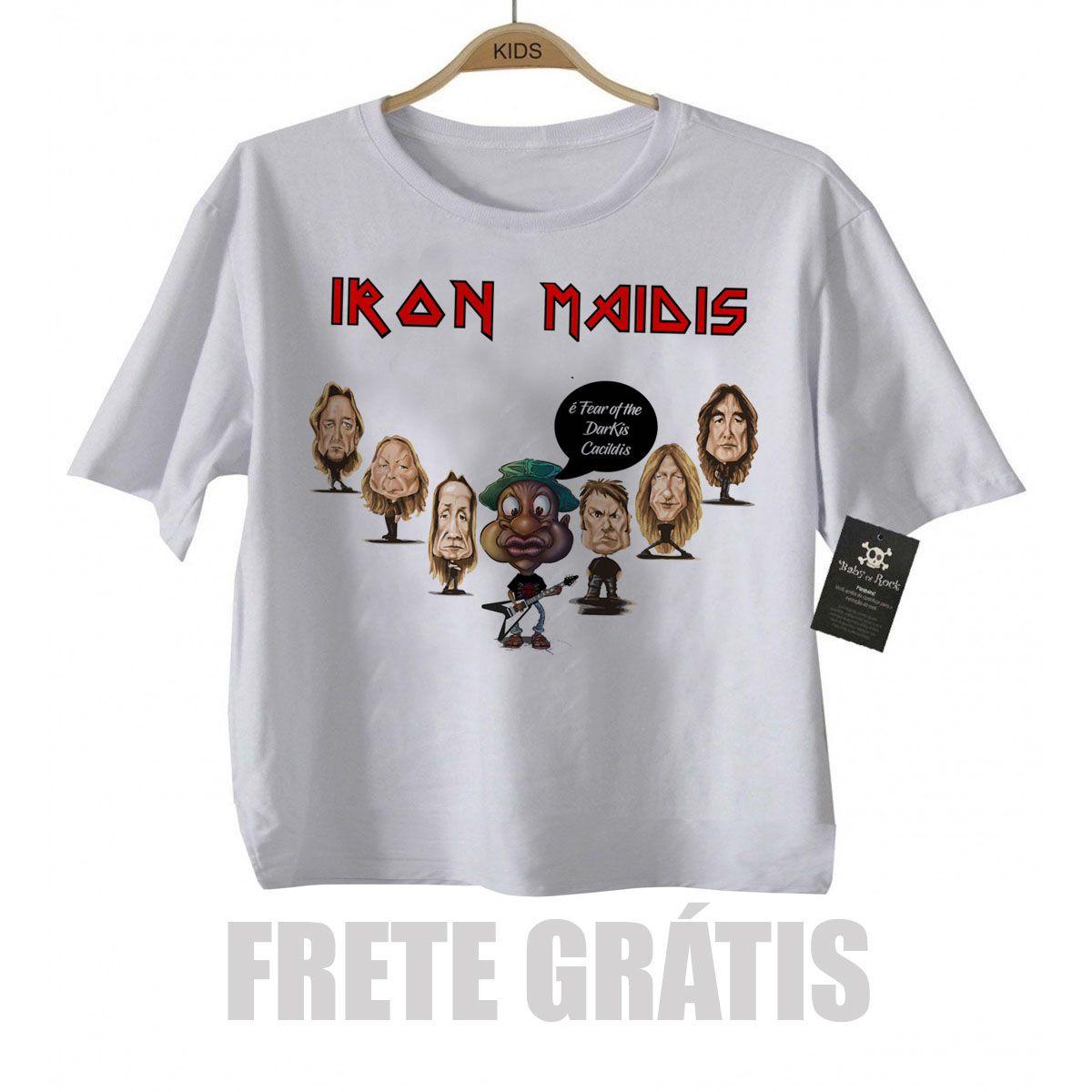 Camiseta Nerd / Geek  Bebe Mussum - Iron Maidis / Maiden - White  - Baby Monster S/A