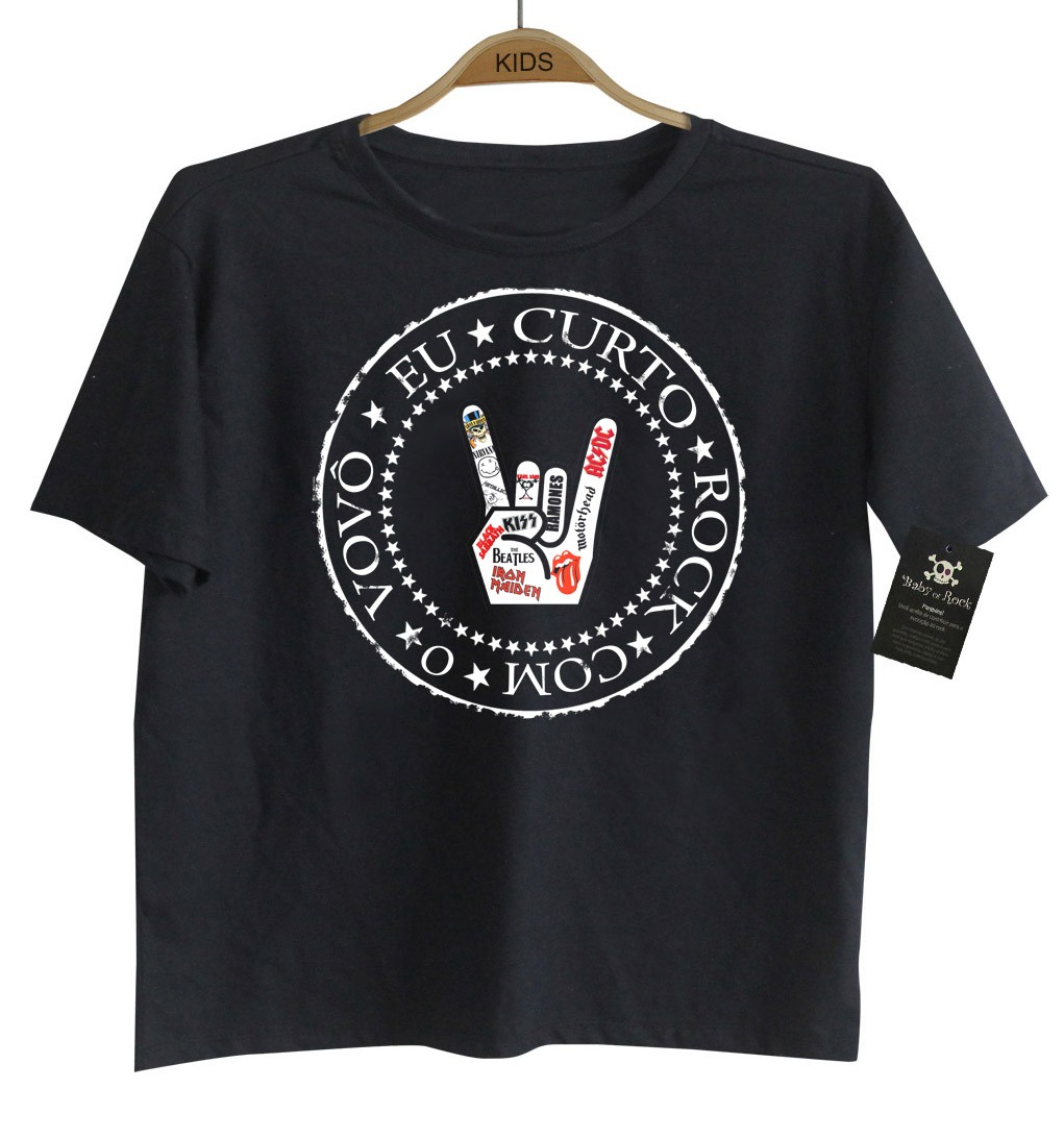 Camiseta Rock infantil eu Curto Rock com o Vovô - Black  - Baby Monster S/A