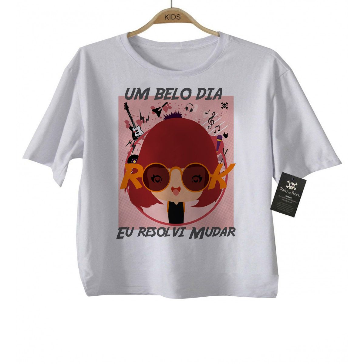 Camiseta Rock Infantil  -Rita Lee - White  - Baby Monster S/A