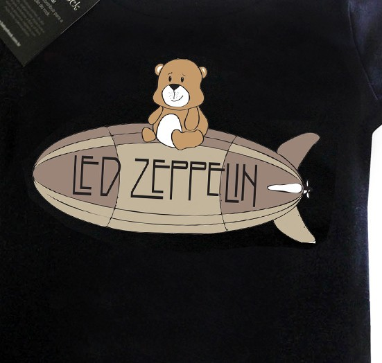 Camiseta  Rock   Led Zeppelin Cute - Black  - Baby Monster - Body Bebe