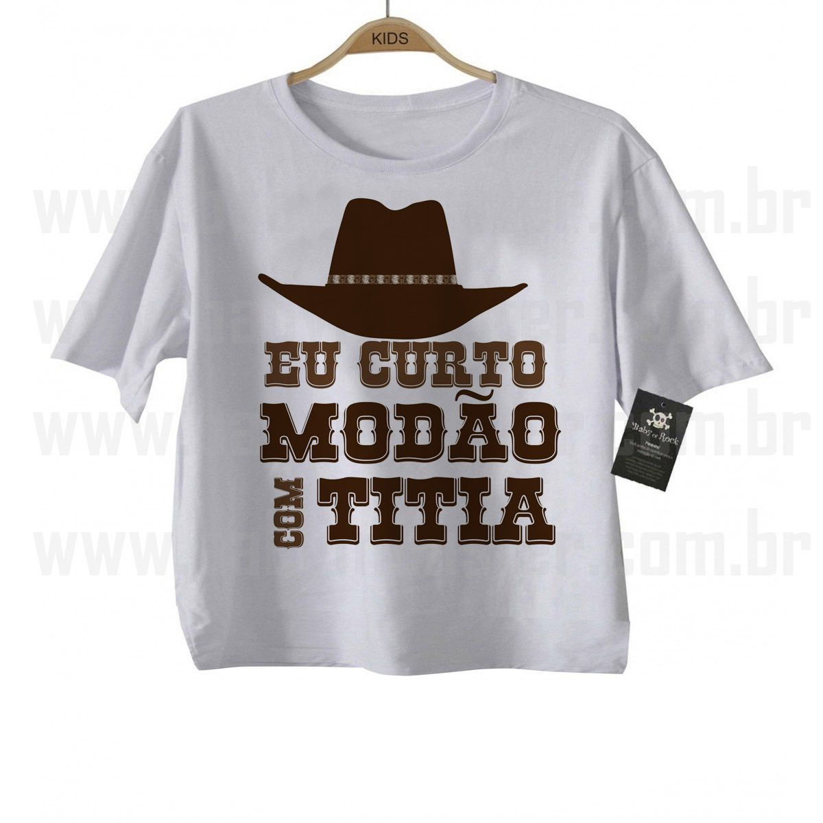 Camiseta Sertanejo Curto Modão com a Titia - White  - Baby Monster - Body Bebe