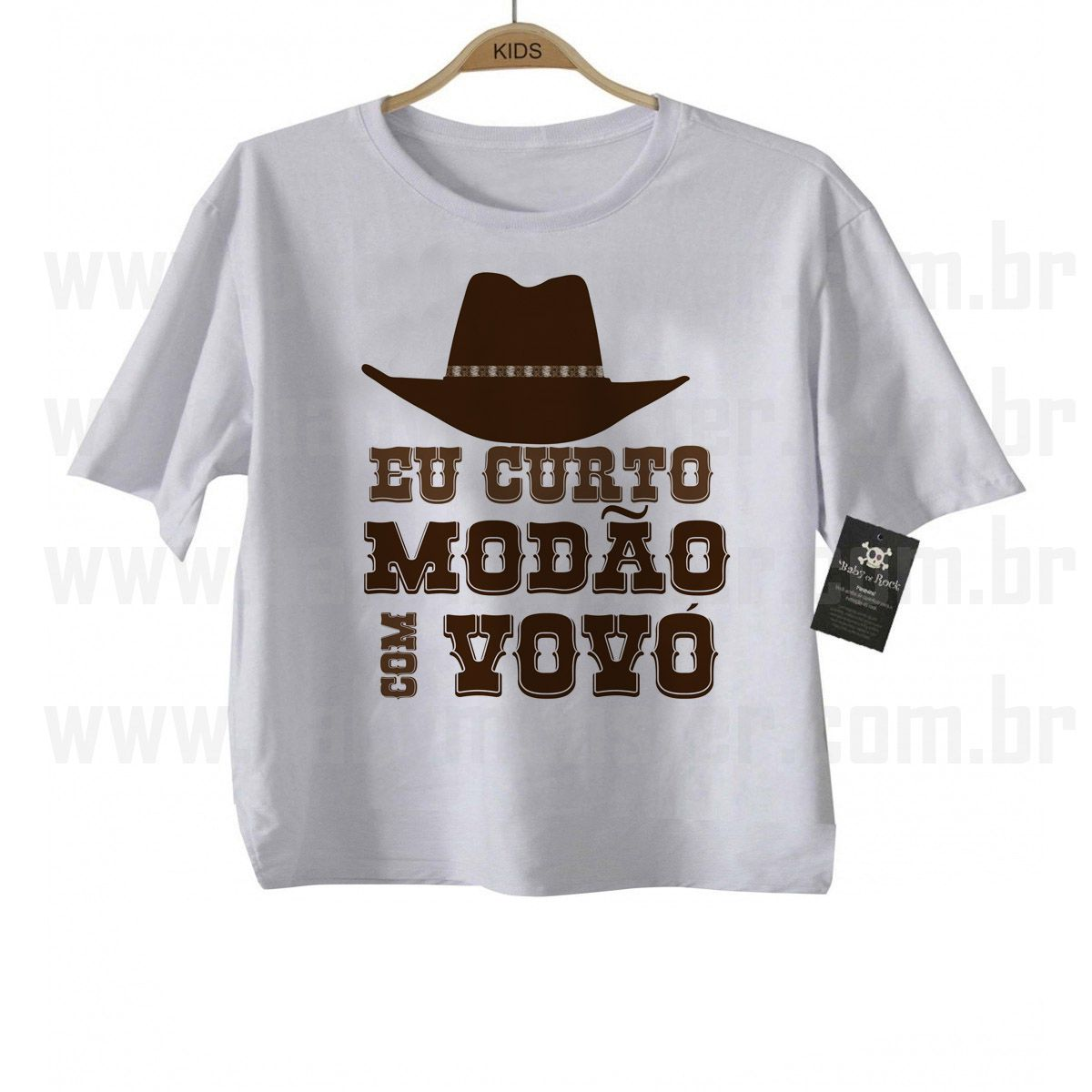 Camiseta Sertanejo Curto Modão com a Vovó- White  - Baby Monster S/A