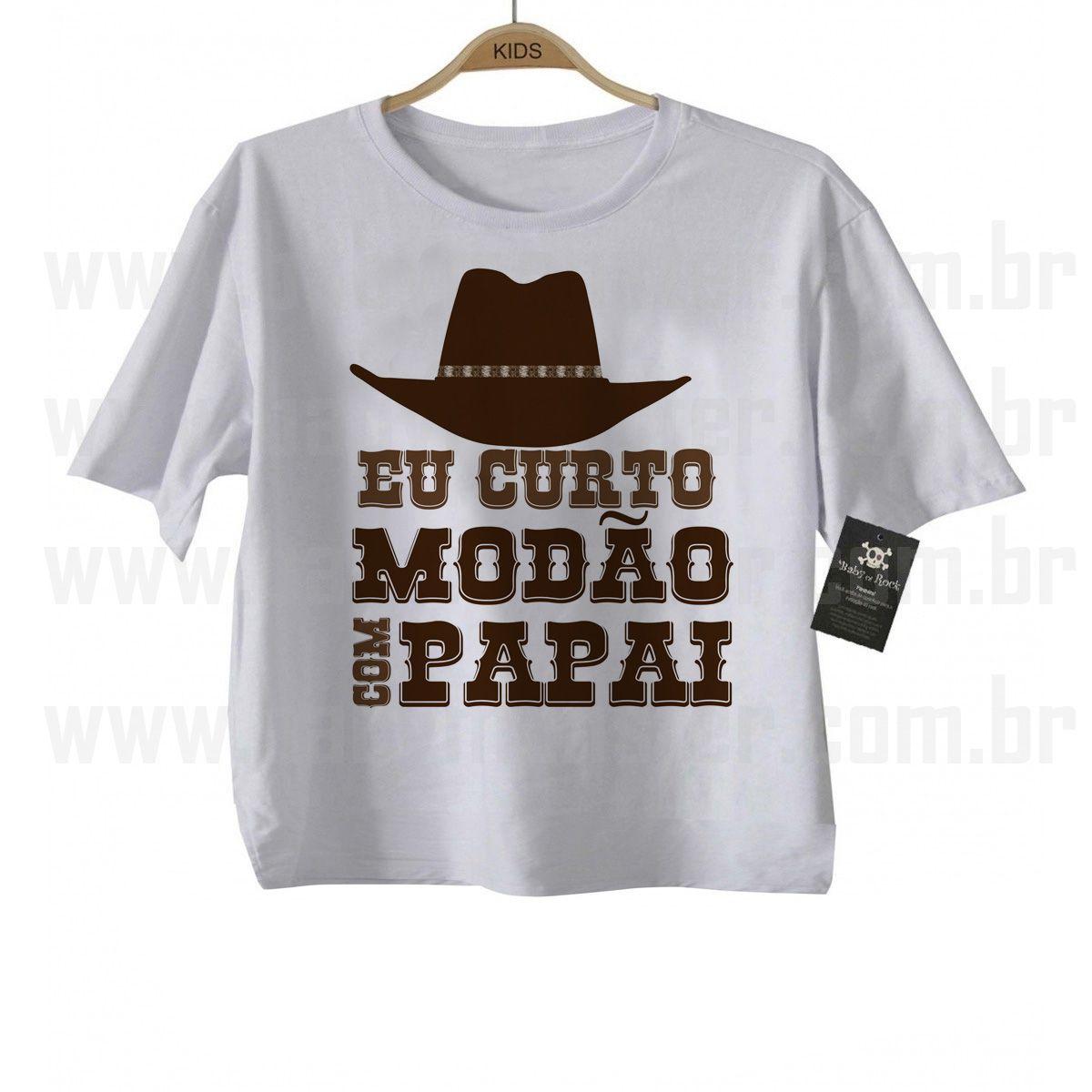 Camiseta Sertanejo Curto Modão com o Papai - White  - Baby Monster - Body Bebe