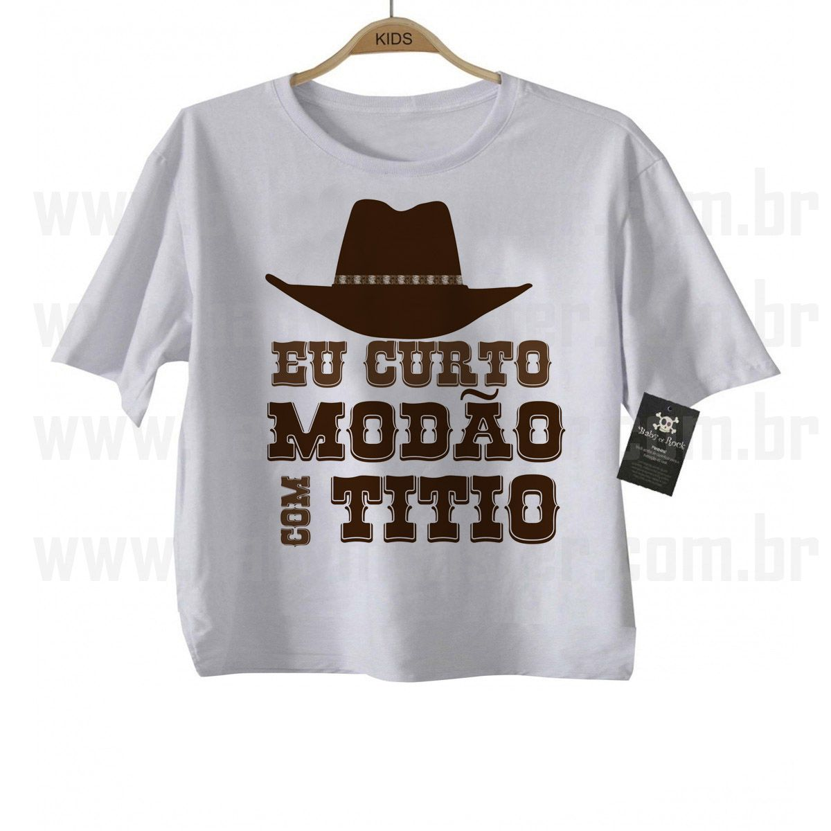 Camiseta Sertanejo Curto Modão com o Titio- White  - Baby Monster - Body Bebe