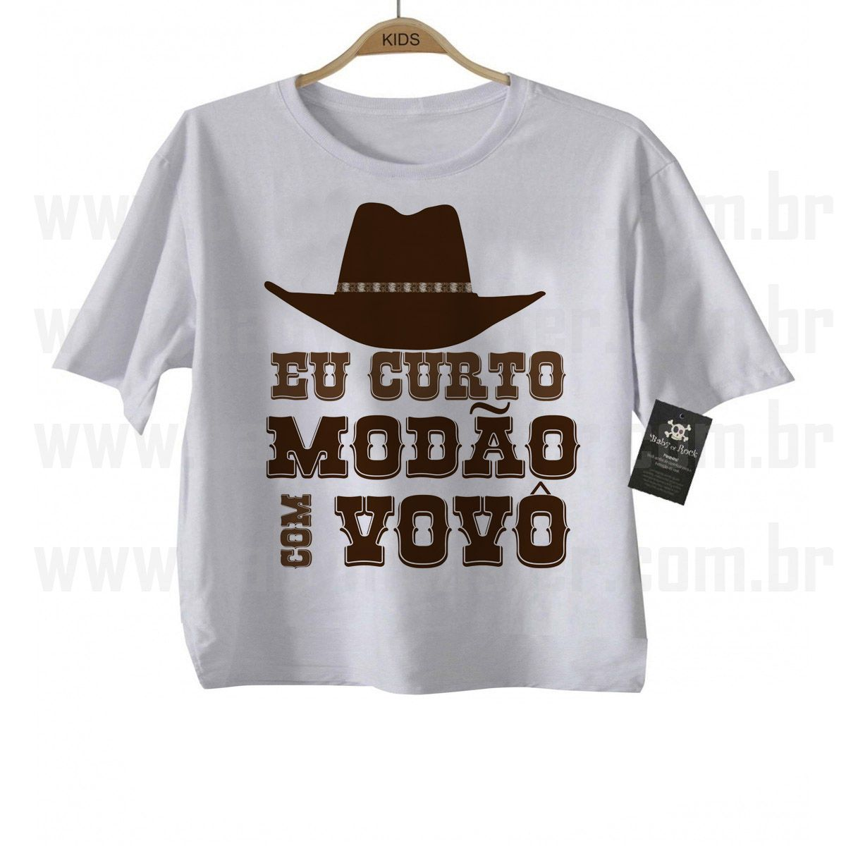 Camiseta Sertanejo Curto Modão com o Vovô- White  - Baby Monster S/A