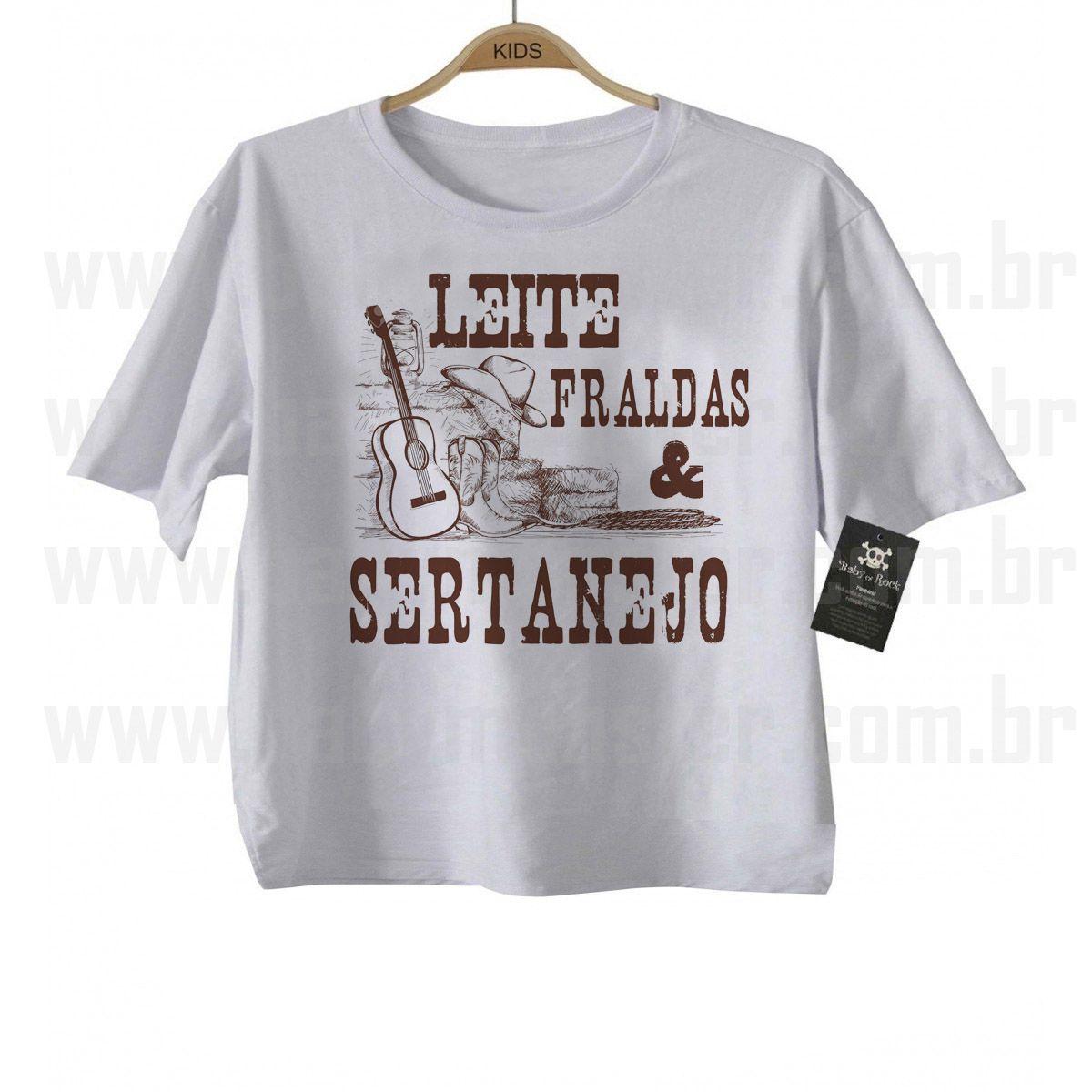 Camiseta Sertanejo Leite Fraldas e Sertanejo - White  - Baby Monster S/A