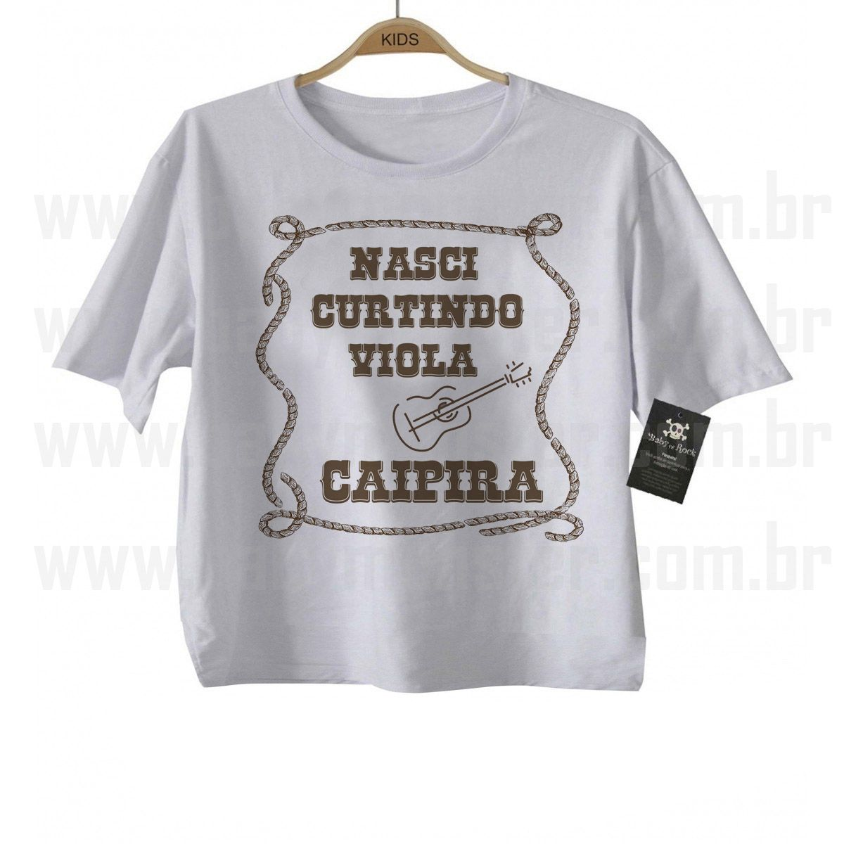Camiseta Sertanejo Nasci Curtindo Viola - White  - Baby Monster - Body Bebe
