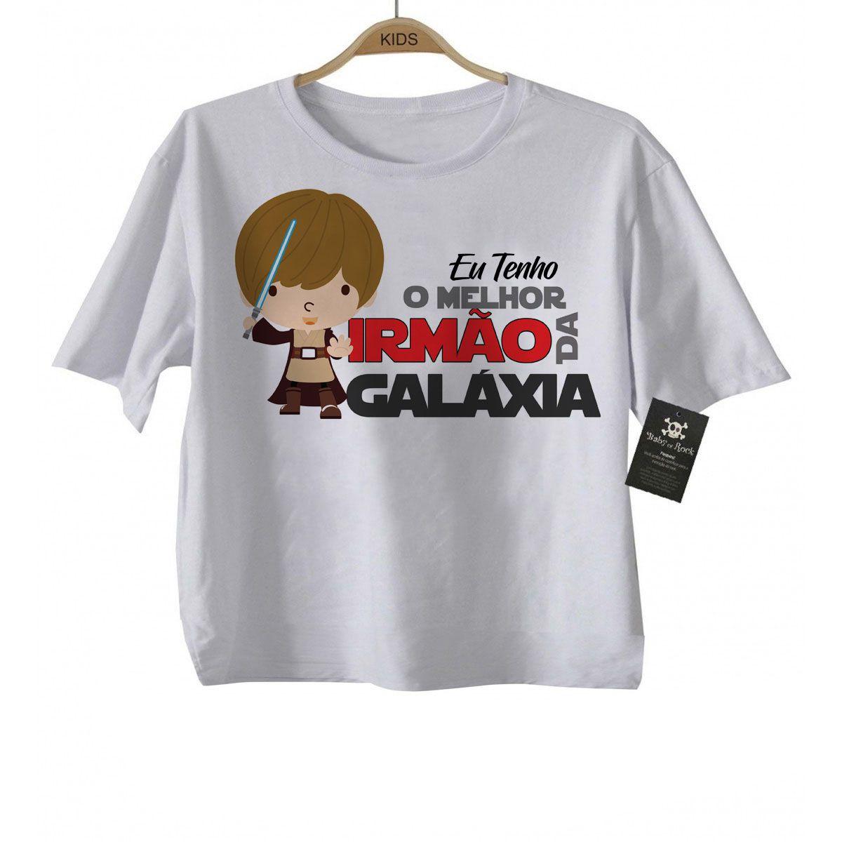 Camiseta  Nerd / Geek  Bebe eu Tenho a melhor Irmão   da Galáxia - White  - Baby Monster - Body Bebe