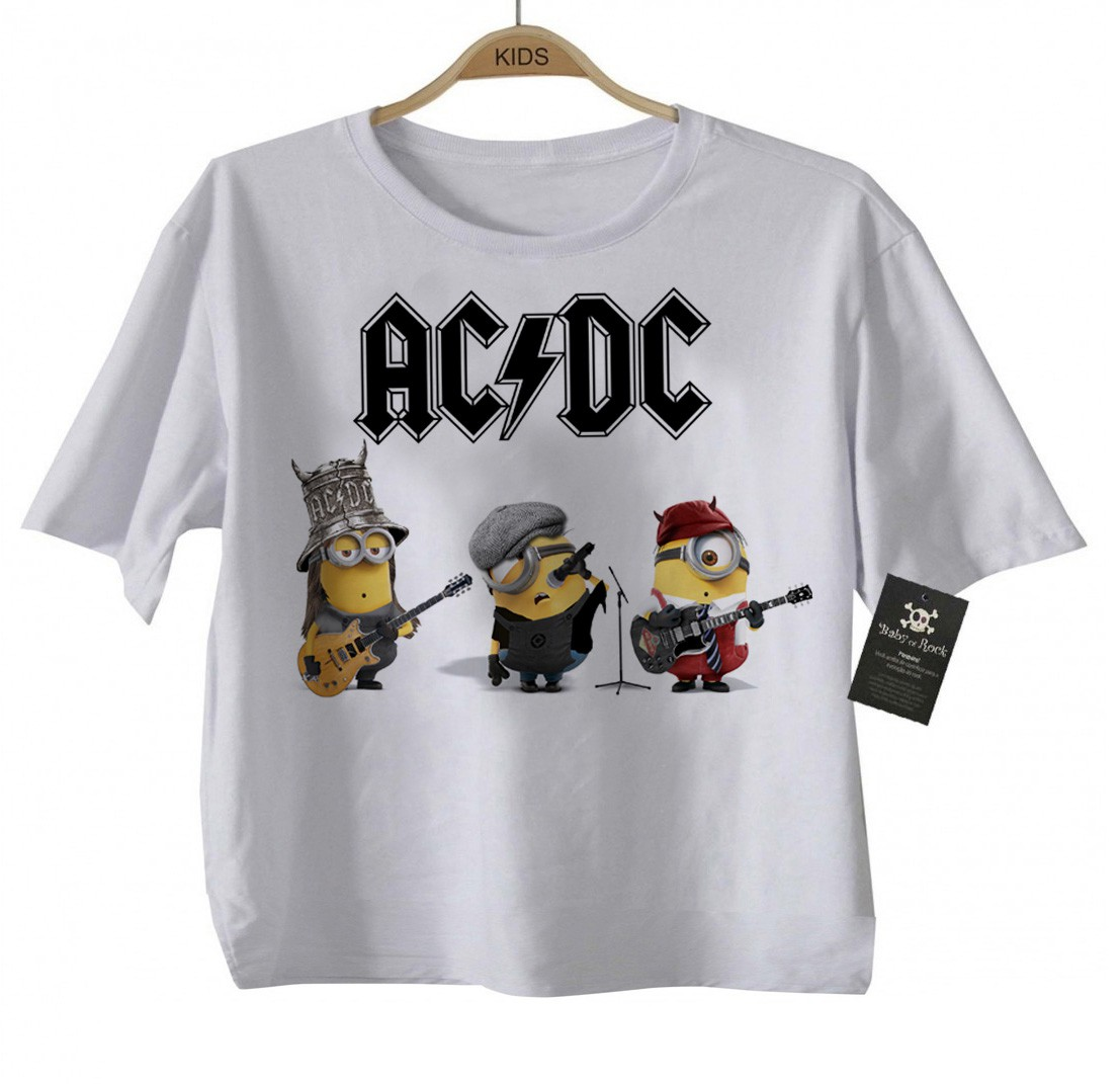ÓPIA - Body Bebe de  Rock ou Camiseta Infantil  Acdc Minions - White  - Baby Monster S/A