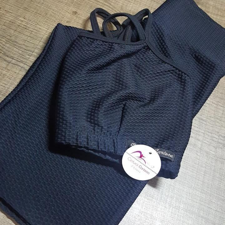 Conjunto Bermuda e top Sophia Texturizado  - Cintura Carioca Moda Fitness