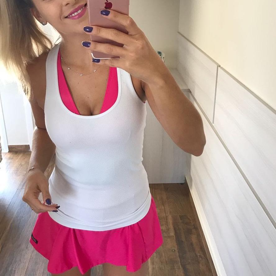 Conjunto Saia e Top Rosa   - Cintura Carioca Moda Fitness
