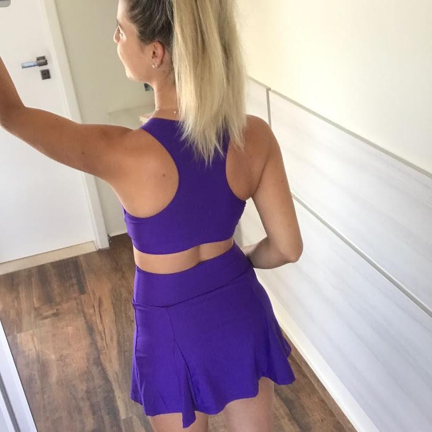 Conjunto saia e Top Roxo  - Cintura Carioca Moda Fitness