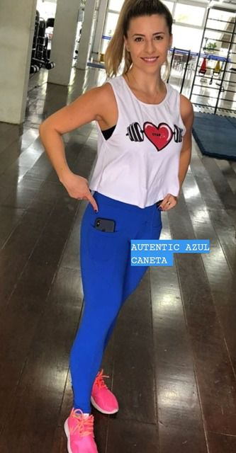 Legging Autentic Azul Caneta  - Cintura Carioca Moda Fitness