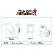 4 Rodinhas Silicone 35mm Anti Risco Com Freio 160kg