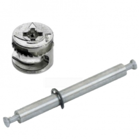 Tambor Bigfix (Minifix) 15x11 mm + Conector de Haste Dupla MDF 15mm - BigFer
