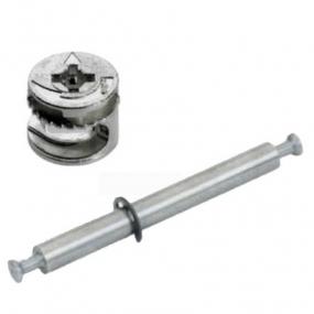 Tambor Bigfix (Minifix) 15x11 mm + Conector de Haste Dupla MDF 18mm - BigFer