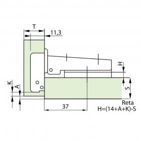 Dobradiça 35mm Slide ON 110º Reta + Calço 4mm - FGVTN
