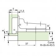 Dobradiça 35mm Slide ON 110º Curva + Calço 2mm - FGVTN