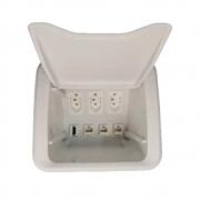 Caixa Mesa New 3Nbr20A + 3 Furação Key Branco - Dutotec