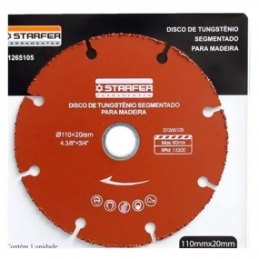 Disco de Corte Tungstênio 110X20mm Para Madeira - Starfer