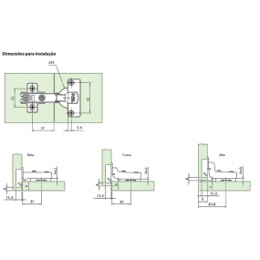 Dobradiça 35mm MS Slow Easy Alta + Calço (Par) - FGVTN