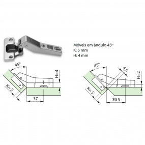 Dobradiça Slide On MS85 Módulo A 45º + Calço 2mm (Par) - FGVTN