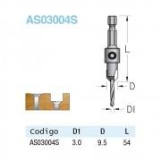 Escareador 9,5mm Broca 3mm - HEX/54 (AS03004S) - WPW