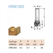 Fresa Meia Cana R6,3 -12,7MM X 8MM - H6/39 (Cod. HRB1203) - WPW