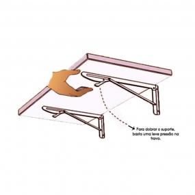 Suporte Dobrável para Mesas e Prateleiras 41cm Branco - Krok