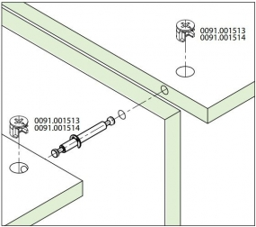Tambor Minifix 15x13,5mm + Haste Dupla 67mm (15 pçs) - FGVTN