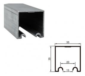 TRILHO SUPERIOR 35 X 35MM CONCAVO  COM ROLDANAS - 2 METROS - PERFIL