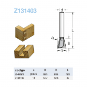 Fresa Rabo Andorinha - A14 - 12,7Mm X 12,5Mm -H6/49  Z131403 - Wpw