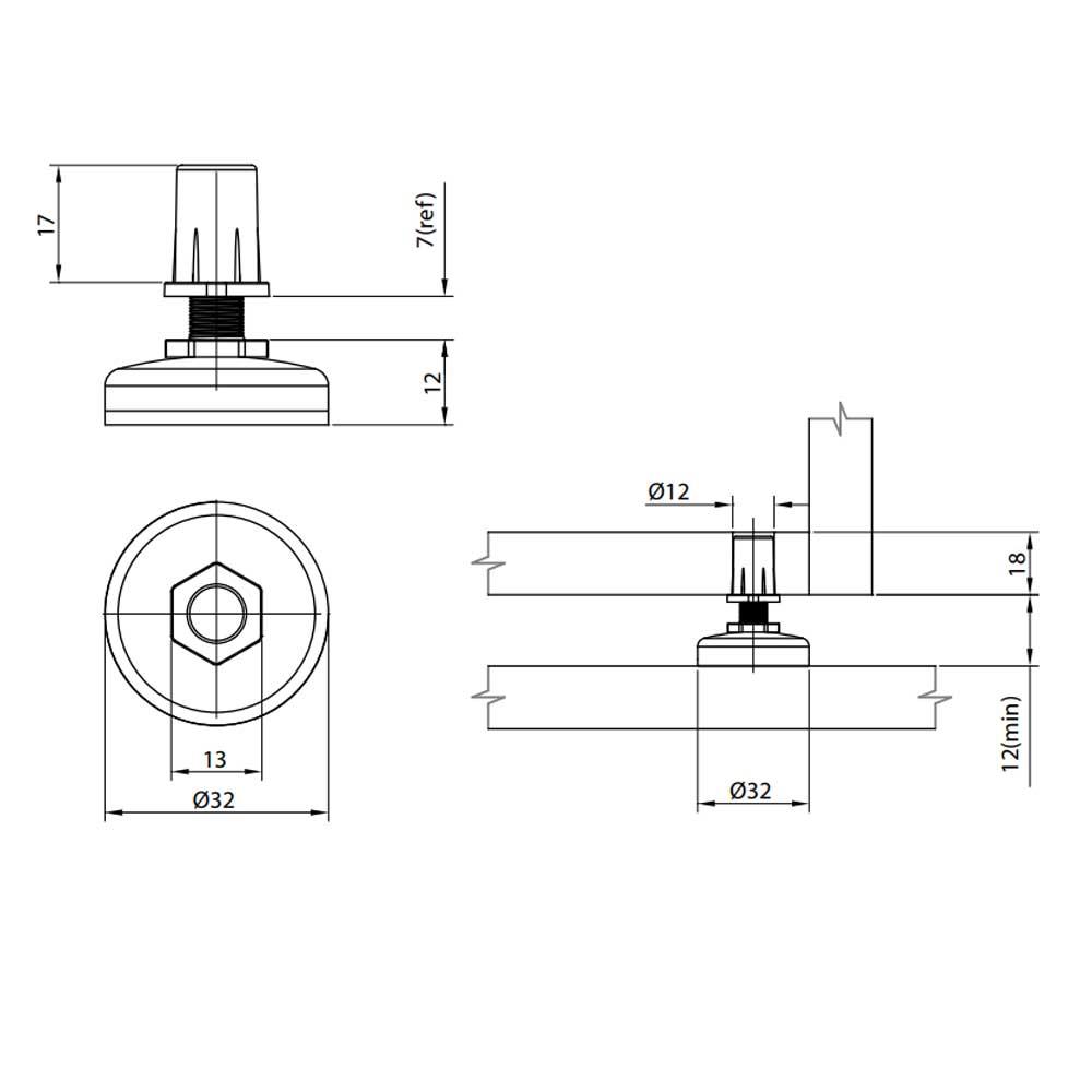 Pé Nivelador 32mm Com Bucha - FGVTN