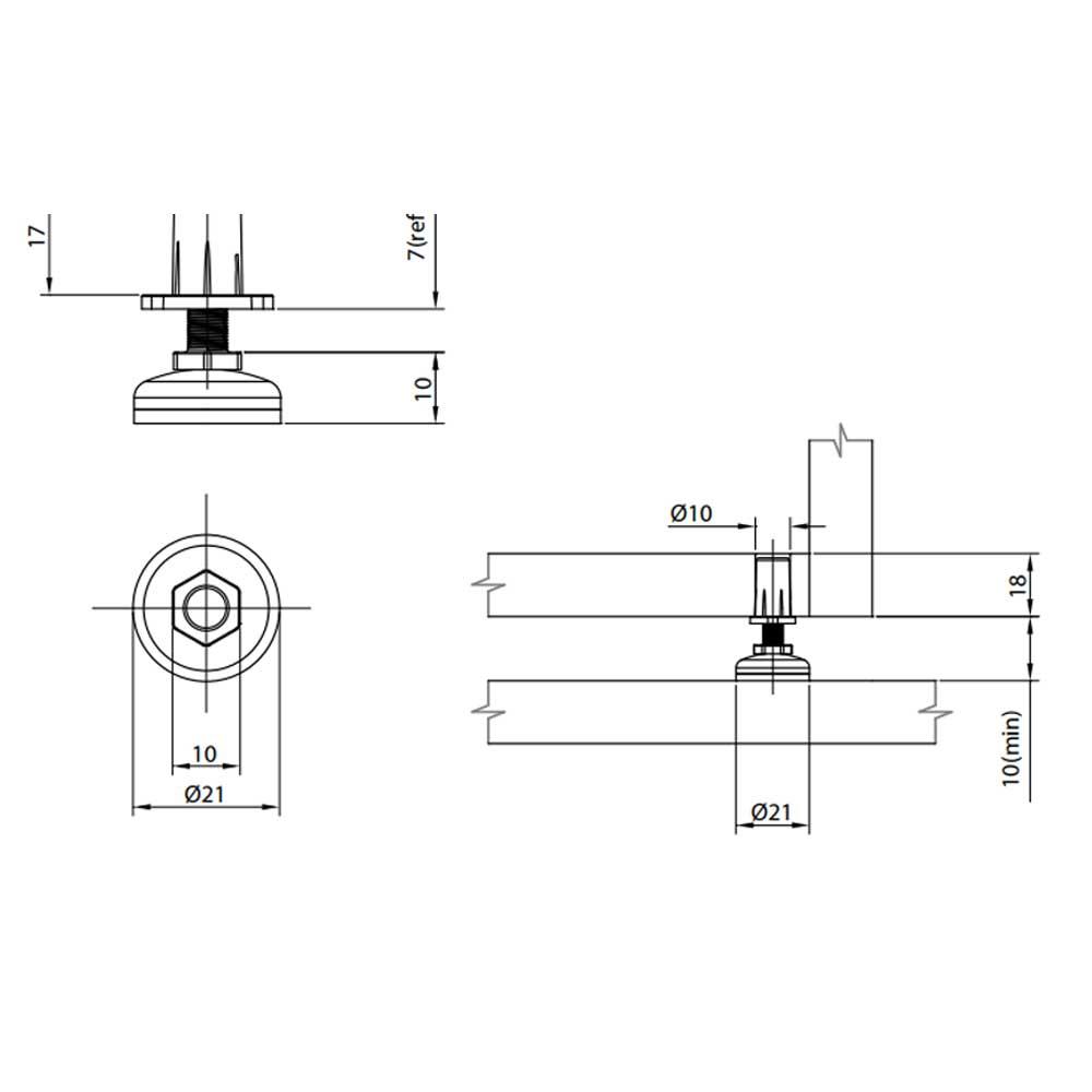 Pé Nivelador 21mm Com Bucha - FGVTN