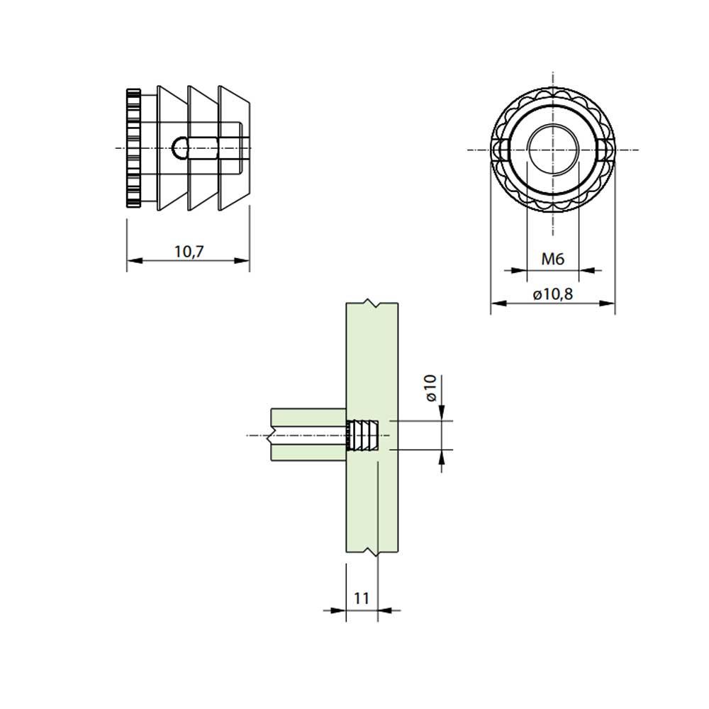 Bucha Plástica M6 10x11 (10 peças) - FGVTN