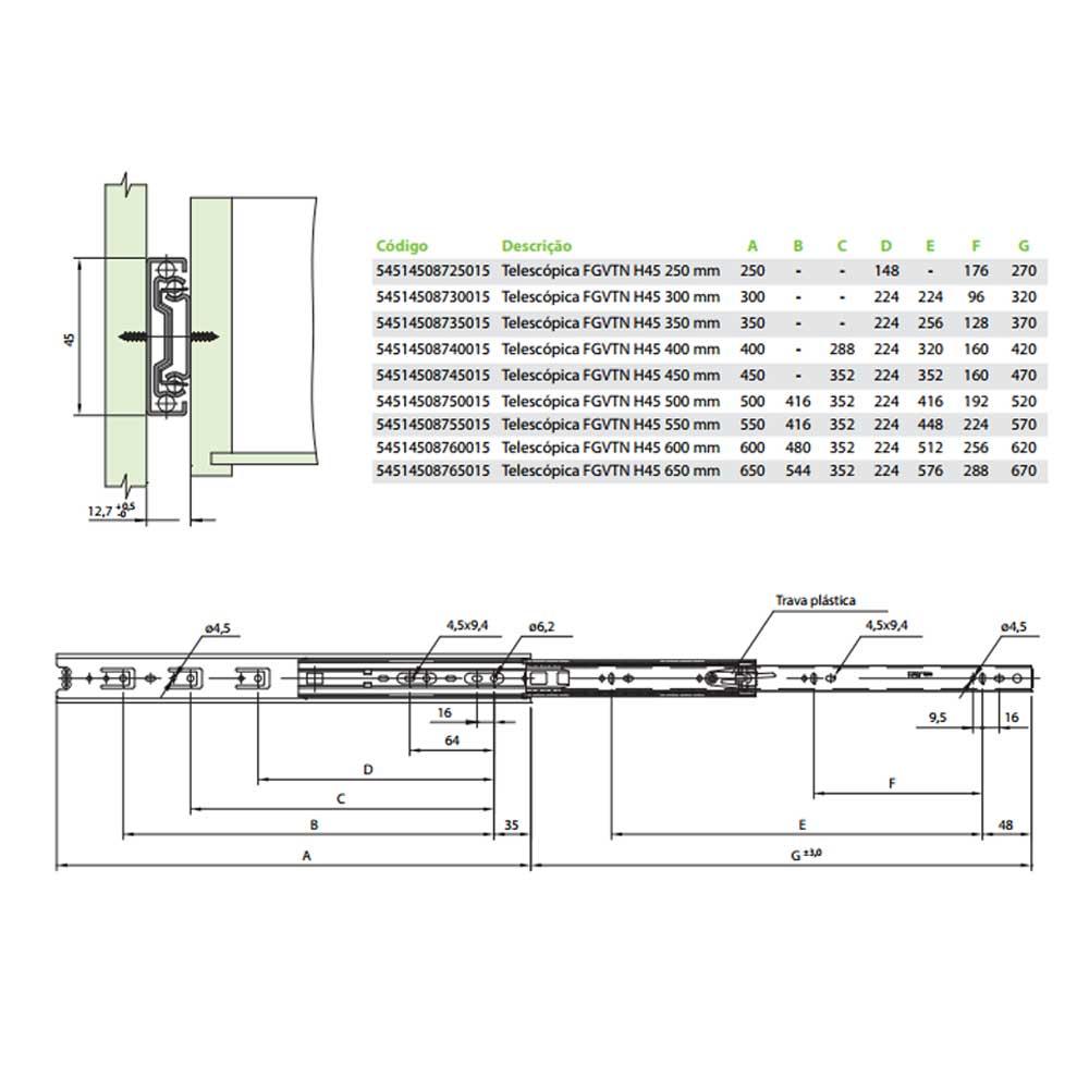 Corrediça Telescópica H45 450mm - FGVTN