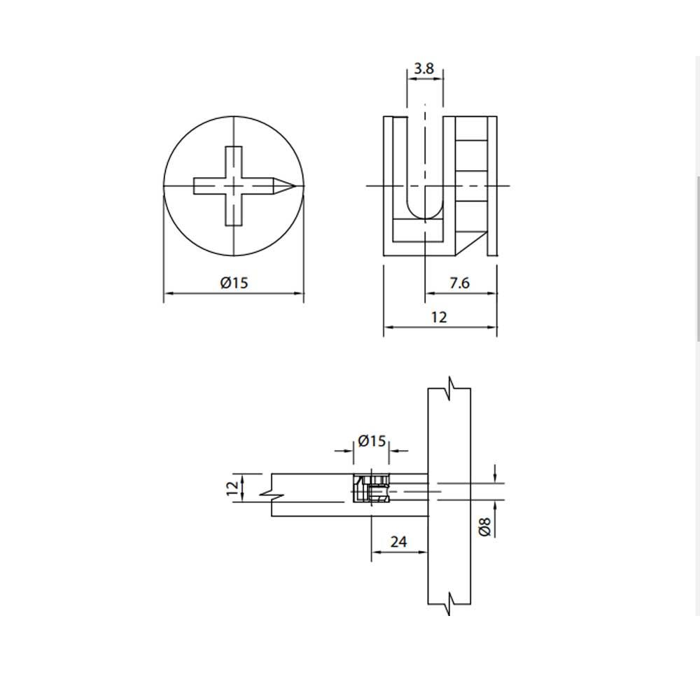 Tambor Minifix 15x12mm + Parafuso 6x32mm  (10 peças) - FGVTN