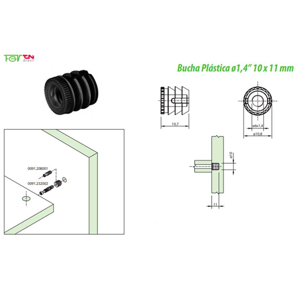 "Bucha Plástica D6 10x11mm 1/4"" (10 peças) - FGVTN"
