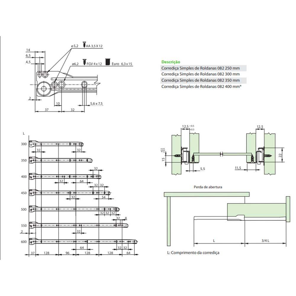 Corrediça Simples de Roldanas Branca 250mm - FGVTN