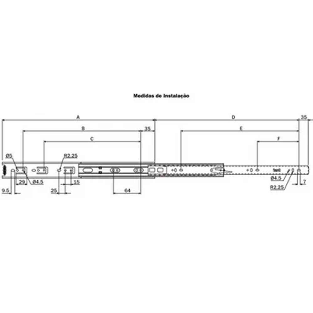 Corrediça telescópica H35 350mm - Hardt