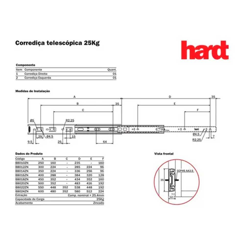 Corrediça telescópica H35 400mm - Hardt