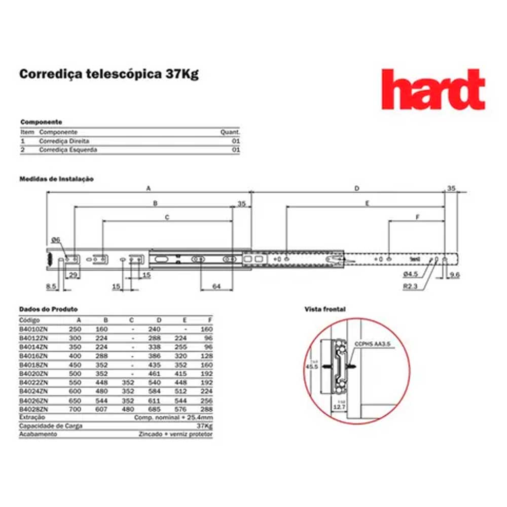 Corrediça telescópica H45 350mm - Hardt