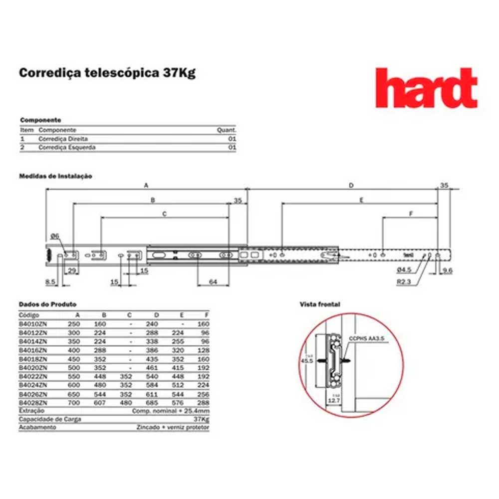 Corrediça telescópica H45 400mm - Hardt