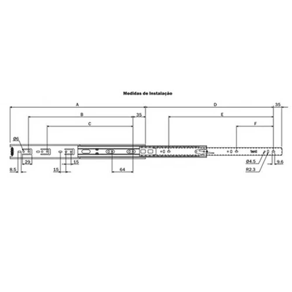 Corrediça telescópica H45 450mm - Hardt