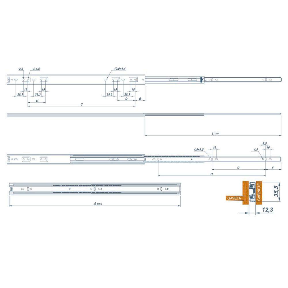 Corrediça Telescópica Light 450Mm (Par) - Metalnox