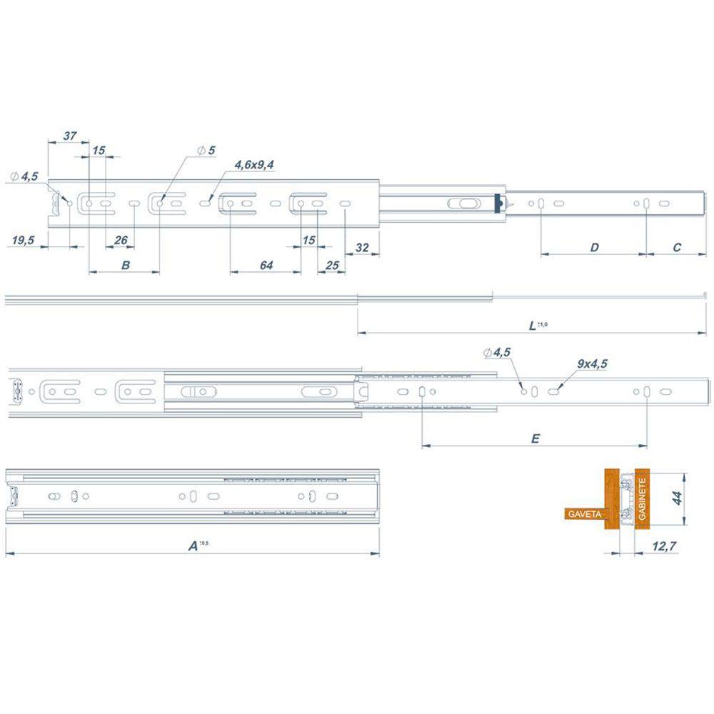 Corrediça Telescópica Steel 500Mm (Par) - Metalnox