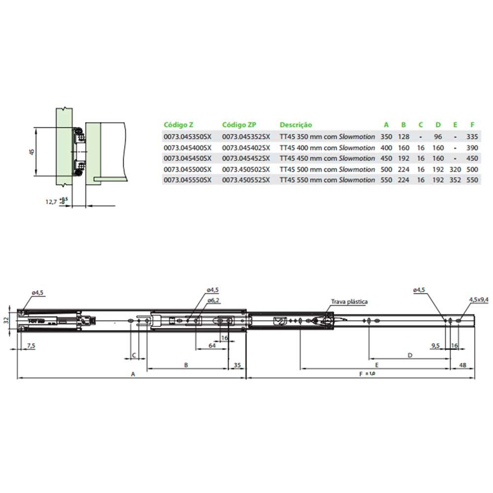 Corrediça Telescópica TT45 Slow Easy 350mm - FGVTN